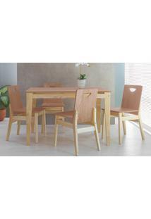 Sala De Jantar Com Mesa E 4 Cadeiras Tucupi 120Cm - Acabamento Stain Natural E Nozes