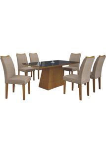 Mesa De Jantar Pampulha 180Cm Quina Reta Com 6 Cadeiras Imbuia Mel / Linho Bege