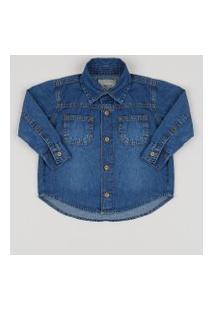 Camisa Jeans Infantil Com Bolsos Azul Médio