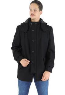 Casaco Masculino Colorado Em Lã Premium Com Capuz Removível - Masculino-Preto