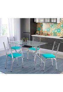 Conjunto De Mesa De Cozinha Com 4 Cadeiras Búzios Verde