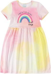 Vestido Tie Dye Viroblock® Menina Malwee Kids Rosa Claro - 3