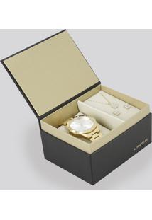 Kit De Relógio Analógico Lince Feminino + Colar + Brinco - Lrg4367L-K187S2Kx Dourado