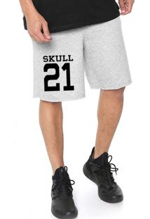 Bermuda Tecido Skull Clothing Skull 21 Cinza