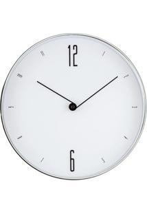 Relógio De Parede- Branco & Prateado- Ø30X4Cm- Mmart