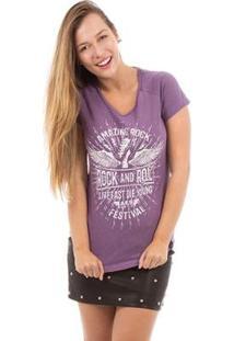 Camiseta Aes 1975 Amazing Rock Feminina - Feminino-Lilás