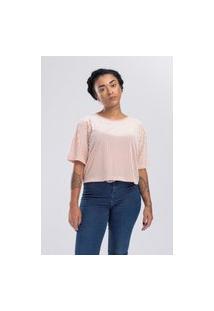 Camiseta Stampo Cropped Veludo Rosa