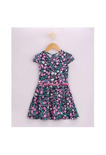 Vestido Infantil Estampado Floral Manga Curta Com Cinto Azul Marinho