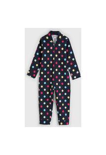 Pijama Elian Longo Infantil Poá Azul-Marinho