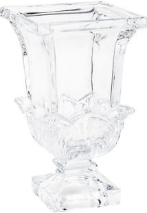 Vaso Com Detalhes Em Relevo & Pé- Cristal- 24,5Xø14Crojemac