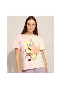 Camiseta Com Recorte Bob Esponja E Patrick Manga Curta Decote Redondo Rosê