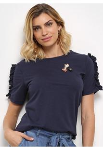 Camiseta Facinelli Babados Flores Feminina - Feminino-Marinho