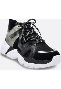 Tênis Feminino Chunky Sneaker Recorte Metalizado Via Marte