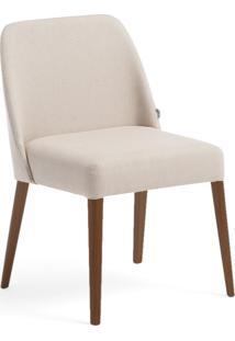Cadeira Rosini - Base Amãªndoa E Tecido Bege