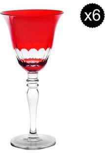 Jogo De Taças Para Vinho Finger- Incolor & Vermelho-Rojemac