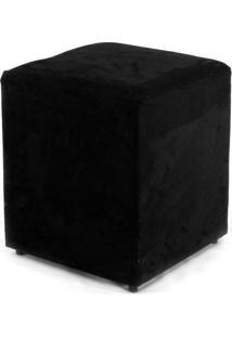 Puff Quadrado Box Suede Preto