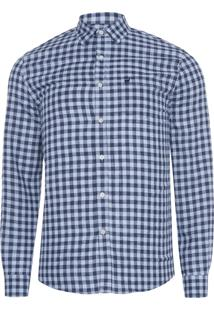Camisa Masculina Vichy Bicolor Leve - Azul