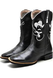 Bota Fak Boots Country Bico Quadrado Masculina - Masculino-Preto
