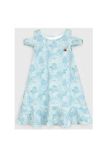 Vestido Marisol Infantil Padronagem Off-White/Azul