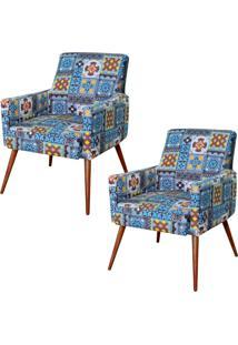 Kit 02 Poltronas Decorativas Lyam Decor Maria Azul Cinza