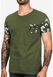 Camiseta Manga Floral Verde 101857