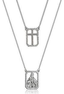 Escapulário Sagrado Coração Cravejado Semijoia Ródio Lys Lazuli Feminino - Feminino-Prata