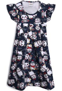 Vestido Elian Infantil Pinguim & Urso Azul-Marinho