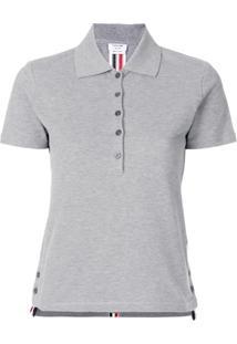 Thom Browne Camisa Polo Com Fendas Laterais - Cinza