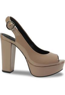 a508dc397 Peep Toe Chanel Lia Line Verniz - Feminino-Marrom