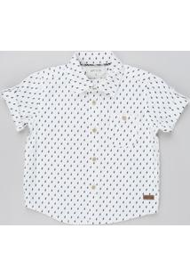 Camisa Infantil Estampada De Raios Manga Curta Branca