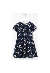 Vestido Infantil Floral Com Rendinha - Tam 5 A 14 Anos | Fuzarka (5 A 14 Anos) | Azul | 9-10