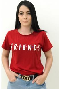 Camiseta Babylook Copacabana Friends Vermelha