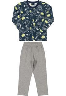 Pijama Longo Infantil Masculino Azul
