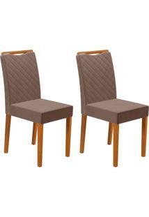 Conjunto Com 2 Cadeiras Munique Ipê E Marrom