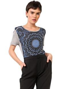 Camiseta Desigual Bristol Cinza/Azul