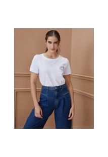 Amaro Feminino T-Shirt Estonada Hortência Floral, Branco