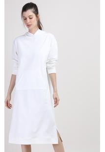 Vestido Blusão De Moletom Feminino Mindset Midi Com Capuz E Bolso Manga Longa Off White