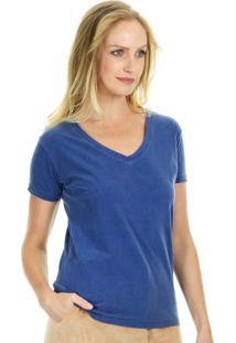 Camiseta Aha Manga Curta Básica Lisa Com Decote Em V E Acabamento Em Viés Azul Marinho
