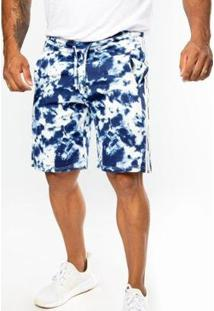 Bermuda Top Fit Moletom Advance Tie Dye Masculina - Masculino-Azul Royal+Branco