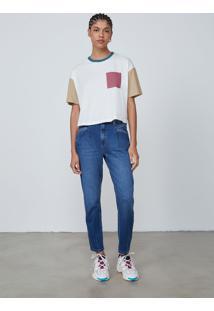 Camiseta Manga Curta Feminina Color Block - Off White