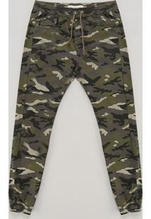 Calça Color Infantil Jogger Estampada Camuflada Verde Militar
