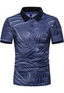 Camisa Polo Join Venture Estampada - Azul G