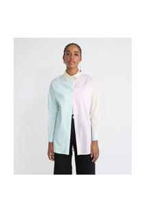 Camisa Alongada Em Tricoline Bloco De Cor Pastel   Blue Steel   Multicores   P