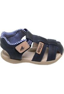 Sandália Infantil Menino Náutico Ortopé Azul Marinho