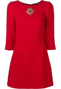 Dolce & Gabbana Vestido Com Aplicações - Vermelho