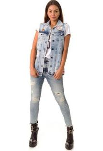 Colete Jeans Opera Rock Feminino - Feminino-Azul