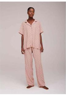 Pijama Longo Estampado Feminino Rosa