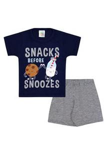 Pijama Bebê Masculino Camiseta Manga Curta Azul Marinho Biscoito E Shorts Mescla (1/2/3) - Jidi Kids - Tamanho 3 - Azul Marinho,Mescla