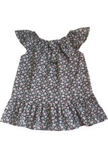Vestido Bebê Em Algodão Estampa Floral Da Tóing Castor
