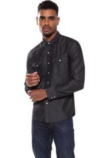 Camisa Jeans Levis Classic Western Masculina - Masculino-Preto